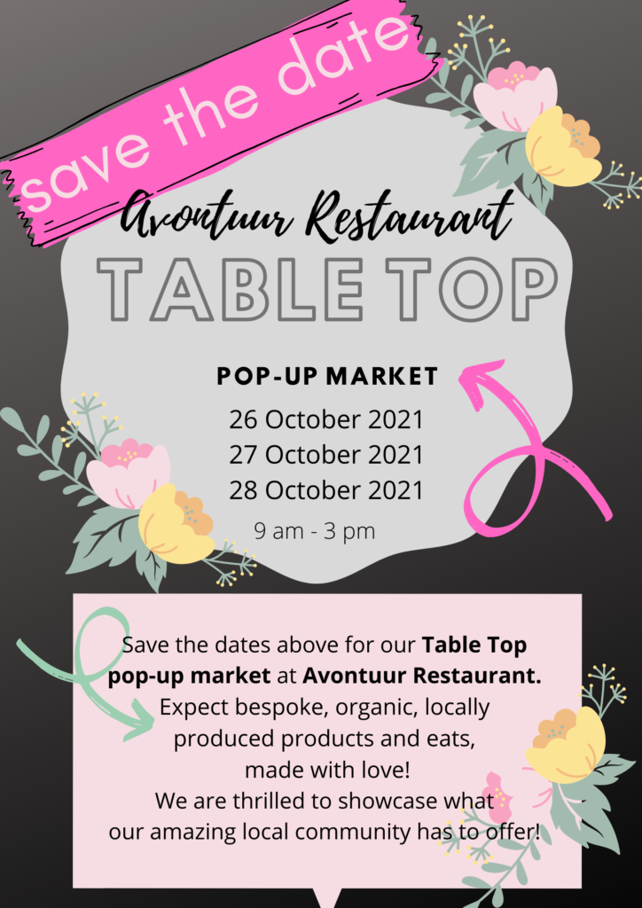 Avontuur Restaurant Table Top Pop Up Market